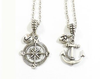 Anchor and Compass Necklaces, Best Friends Necklaces, Couples Necklaces, Mother Daughter, Sister, Personalized Jewelry, Friend Necklace