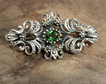 Sterling Brooch, Victorian Style, Emerald Green Crystal and Marcasites