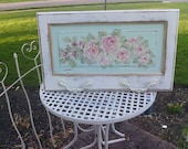 Hand painted Shabby Chic Cottage Rose wall Hanger w\antique hooks
