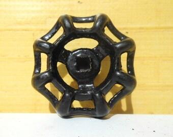 black industrial furniture knobs repurposed faucet handles / custom stem finish options / made to order
