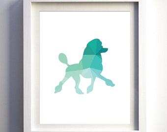 Teal Turquoise mint poodle dog art print geometric animal prints wall decor teal nursery art girls boys wall art children animal room dog