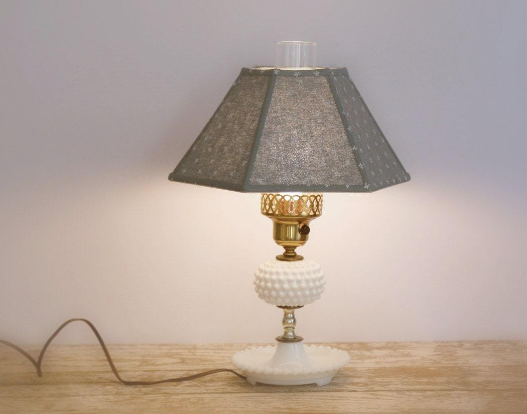 vintage hobnail milk glass table lamp white cottage shabby