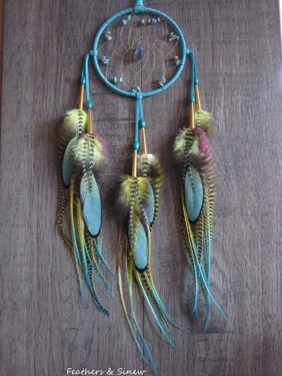 Dream Catcher Turquoise Deerskin Leather with Rooster Saddle Feathers ~ OOAK
