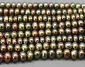 Dark Olive Green Freshwater Pearls Potato Shaped 4.5-5.5mm--full strand