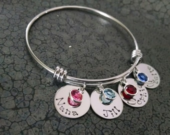 Personalized Bracelet Adjustable Bangle Bracelet Personalized Jewelry Mothers Bracelet Gift for Mom Gift for Wife Mothers Jewelry