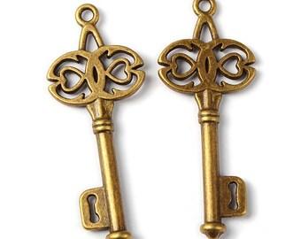 Bulk Skeleton Keys-Antiqued Bronze-Skeleton Keys-45mm-50 pieces Wholesale Keys