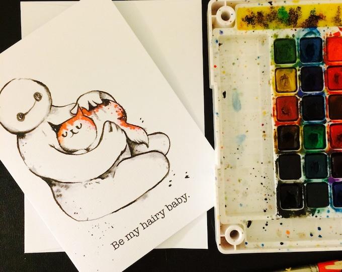 Baymax Valentine's Day Card Blank Card / 5x7 inch watercolor print nerd geek girl guy dork big hero 6 cat for him