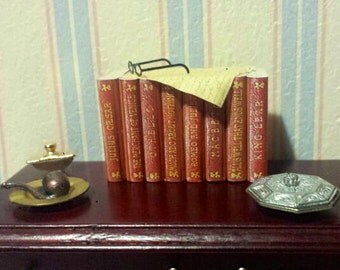 Dollhouse miniature stack of 8 shakespeare books with paper and glasses