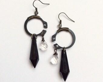Industrial steampunk wire wrapped earrings