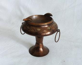 Ashtray, pedestal bowl, etched vintage copper pot, ash tray, cactus planter, handmade etching. Two cigarette rests, Table, desk shelf decor