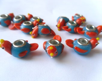 1, 2 or 5 Blue and Orange Bird Lampwork Glass Big Hole Euro Beads 30x10mm    -D2C1-1