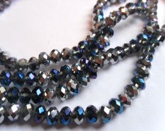 100 Midnight Blue Electroplated Glass Crystals 6x4mm    -D4D1-1