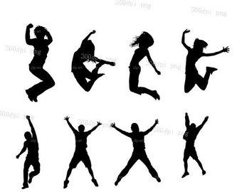 Jumping silhouette digital clipart vector eps png  files black Clip Art Images Instant Download