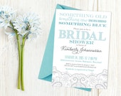 Something Borrowed Something Blue Bridal Shower Modern Lace Invitation Design - Wedding, Couple's, Kitchen, or Tea Party Printable Invite