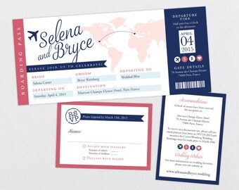 Destination Wedding Invitation Ticket, Boarding Pass Wedding Invitation, Travel Themed Invite, Map Wedding Invitation