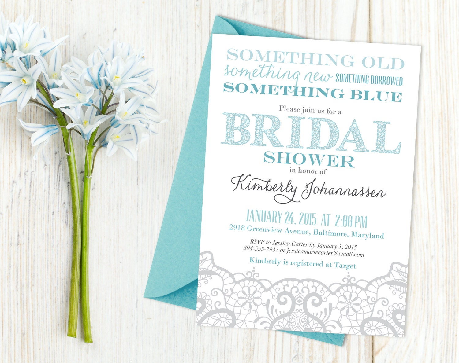 Something Borrowed Wedding Traditions From Around The: Something Borrowed Something Blue Bridal Shower Modern Lace