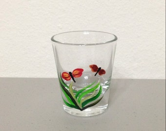 Hand Painted Shot Glass with Red Dragonflies