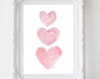 Nursery Wall Art, Pink Watercolor Heart Print, Pink Nursery Decor, Pink Nursery Art, Pink Wall Art, Pink Painting, Nursery Watercolor