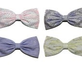 Pastel Lace Hair Bow, Lolita Hair Bow, Doll, Pastel, Lavender, Pink, Yellow- For Girls, For Teens, For Women