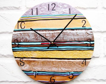 Striped Wall Clock, Home Decor for Children, for Office, Dad Gift, Gift to our Father, Dad Appreciation Gift, Fathers Day Gift