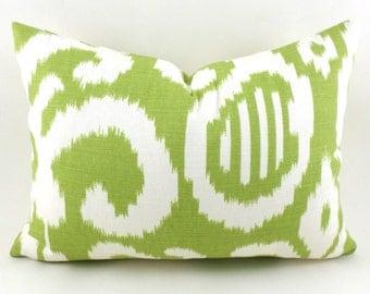 60% CLEARANCE SALE Lumbar Pillow Cover Decorative Pillow Cover Ikat Pillow Green Ikat Pillow Suburban Home Fergana Ikat Lime