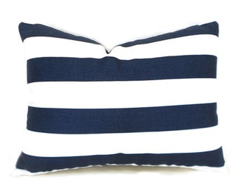 "60% CLEARANCE SALE Navy White 1.5"" Stripe Lumbar Decorative Pillow Cover  Premier Prints Canopy Blue"