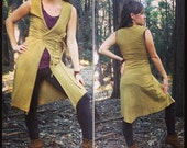 Custom Made to Order Chandra Long Wrap Vest Organic Hemp and Cotton Dyed with Herbs