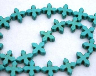 Turquoise Blue Magnesite, Howlite, Turquoise Star Flower Beads
