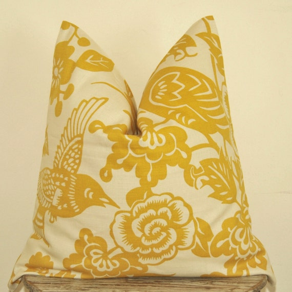 Items similar to Yellow Bird Pillow, Papercut Pattern, Pillow Cover, Decorative Pillow, Throw ...
