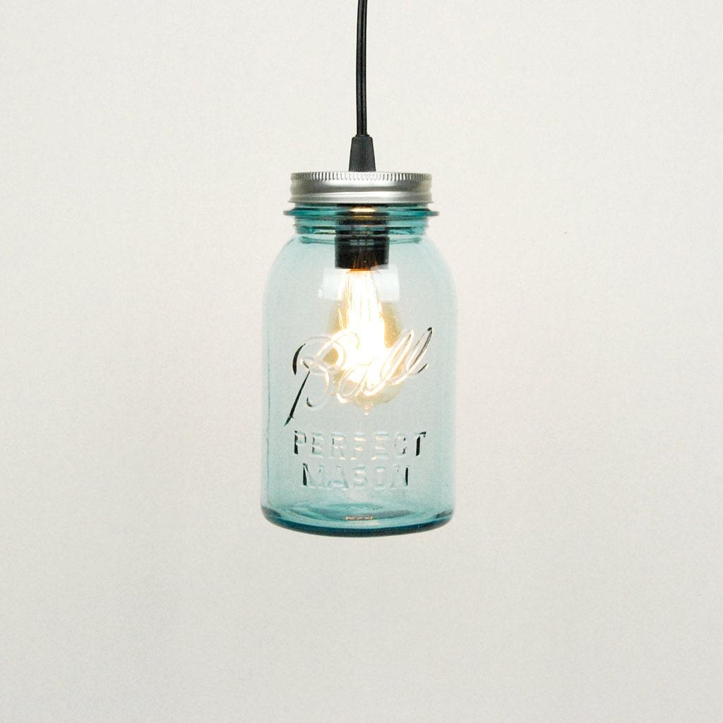 Mason Jar Pendant Light 1 Vintage Quart Jar Aqua