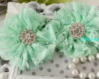 2 Mint Green Lace Fabric Flower - Vintage Wedding - Rhinestone Button - hair clip flower - Baby Girl Headband flower - Corsage -Shoe Clip
