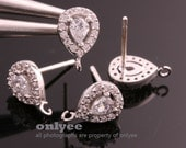 1pair/2pcs10mmX6.5mmRhodium Plated over Brass Cubic Zirconia Clear Elegant 92.5 sterling silver post Earring(K827S)