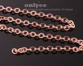 1Meter(1yd)- 2mm x 1.6mm Bright Rose Gold flat cable chains deilcate fine chains / jewelry making necklaces(N136R)