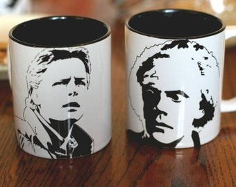 Michael J Fox, Christopher Lloyd, Marty McFly & Doc Brown, Back To The Future, Hand Printed cup set