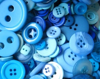 50 Mixed Blue Buttons Pack of Blue Buttons AM4