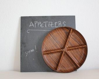 SALE 50 OFF Vintage Appetizer Dish Wood Grain Dark Brown Five Section Dish