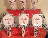 Black & White Damask Print ...Table Numbers ... Wedding ... Anniversary ... Event ... Set of Six