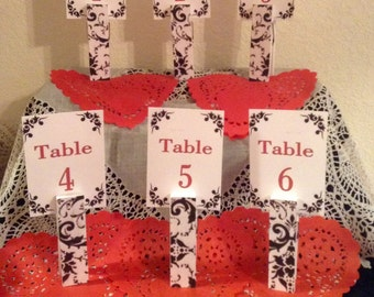 Demask Table Numbers ... Red and Black...Wedding ... Anniversary ... Event ... Set of Six