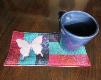 BUTTERFLIES  - Applique Quilted Mug Rug PDF E-Pattern