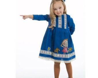 Vintage Girl Dress - Blue linen girls dress-linen-painted dress- ON ORDER ONLY -children clothing - girl dress- flower girl dress
