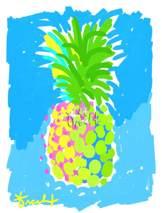 art print 11x14 yellow pineapple pink and green blue by artist. Black Bedroom Furniture Sets. Home Design Ideas