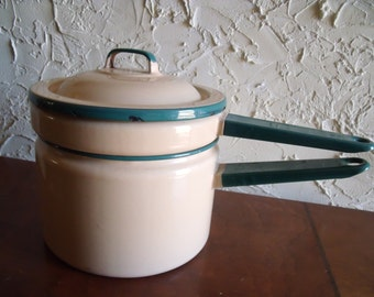 Vintage 1930s Graniteware Cream And Green Double Boiler Cooking Pan