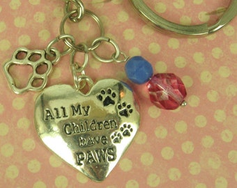 "Sterling Silver 925 Charm ""All My Children Have Paws"" - Key Ring -  Animal Rescue, Animal Love, Animal Awareness"