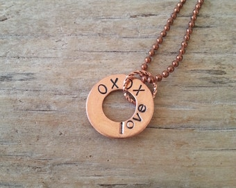 Copper Washer Necklace LOVE XOXO hand stamped Custom Washer Necklace