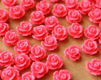 30 pc. Strawberry Pink Glossy Rose Cabochon 10mm | RES-457