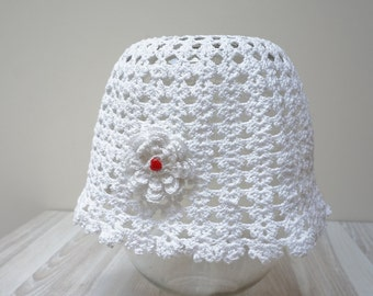 Women Girl hat summer beanie beret cap crochet knit white Flower handmade cotton sun beach garden pink floral you red heart