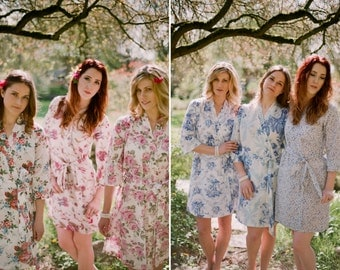 Set of 3. Custom lined bridesmaid robes in cotton. Pastel floral robes, bridal kimonos and dressing gowns in delicate prints.
