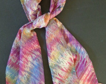 Blossoms in Pink, Magenta &, Green Shiboried Silk Scarf
