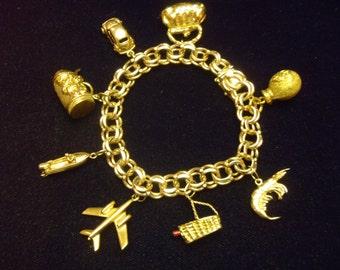 Custom Made Heavy 14K Gold Charm Bracelet Vintage 18K and 22K Moveable Charms