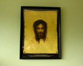 Vintage Jesus Christ with Crown of Thorns Eyes Open and Closed 'St. Veronica's Handkerchief' Framed Lithograph by Gabriel Von Max